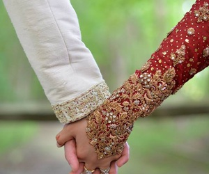 hand in hand, wedding, and love image