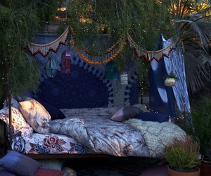 bed, nature, and boho image