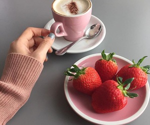 strawberry, coffee, and pink image