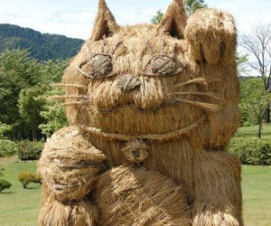cat, lucky cat, and straw art image