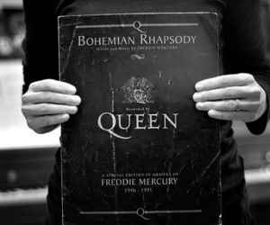 black and white, Freddie Mercury, and Queen image