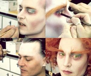 johnny depp, alice in wonderland, and makeup image