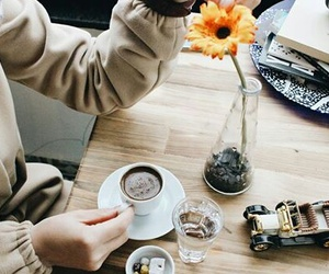 coffe, flower, and girl image