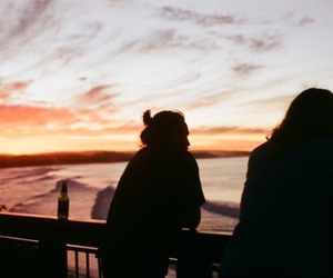 sunset, sky, and friends image