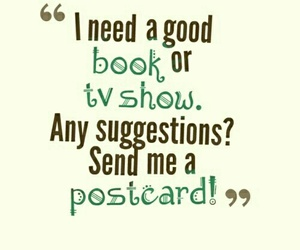 book, tv show, and postcard image