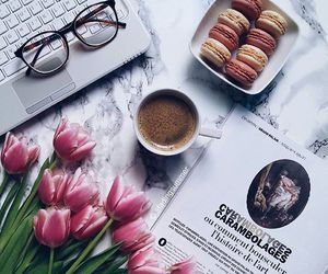 coffee, flowers, and glasses image