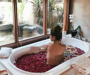 girl, bath, and rose image