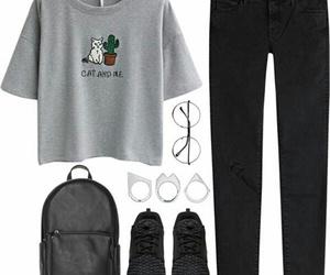 grey black, backpack, and glasses image