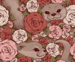 animal, rose, and flowers image
