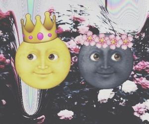 moon, emoji, and flowers image