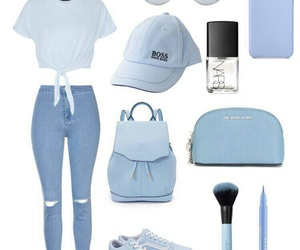 backpack, blue, and jeans image