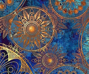 wallpaper, blue, and gold image