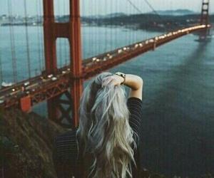 girl, hair, and bridge image