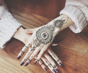 beauty, hands, and henna image