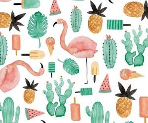 wallpaper, flamingo, and cactus image