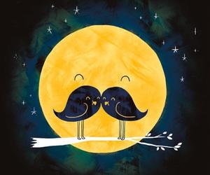 moon, bird, and mustache image