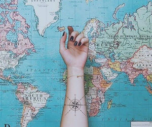 map, tattoo, and travel image