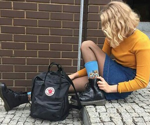 girl, yellow, and grunge image