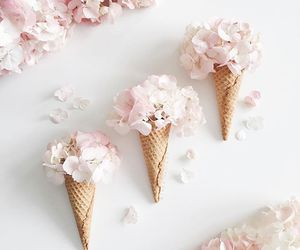 ice cream, pink, and roses image