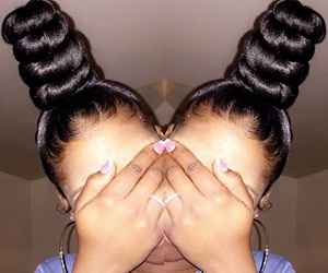 pretty, top bun, and cute image