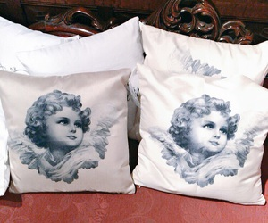 angel, cushion, and antique image
