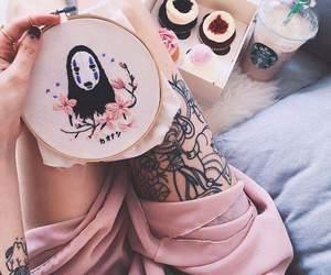 pink, starbucks, and tattoo image