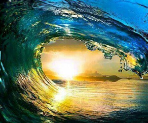 waves, ocean, and sun image