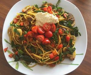 healthy, pasta, and hummus image