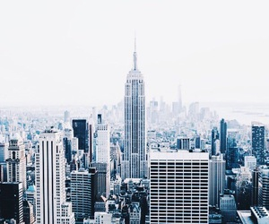 blue, city, and white image