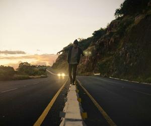 road, boy, and car image