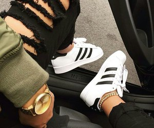 black, black and white, and adidas image