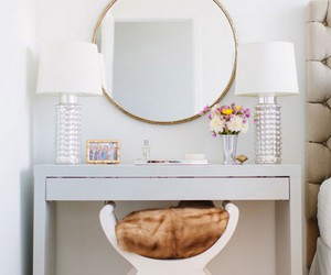 white, decor, and mirror image