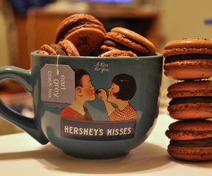 cup, chocolate, and macaroons image