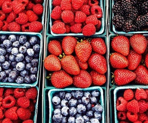 food, strawberry, and blueberry image