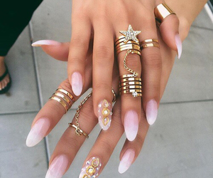 nails, rings, and girly image