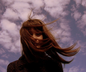 brunette, ginger, and clouds image
