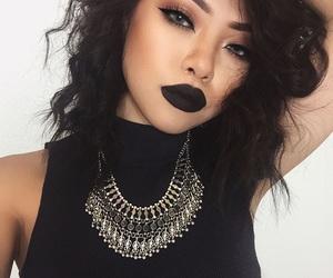 makeup, girl, and black image