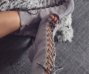 grey, high heels, and shoes image