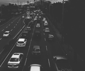 bnw, car, and city image