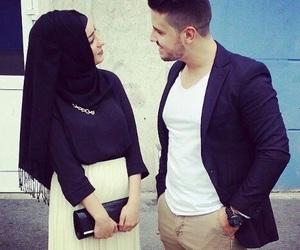 couple, islam, and hijab image