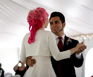 pink hair, rockabilly, and wedding image