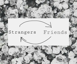 strangers, text, and true image