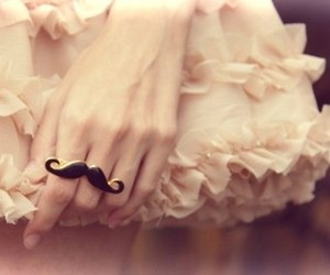 ring, mustache, and dress image