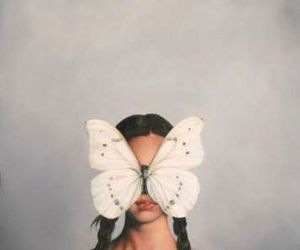 art, girl, and butterfly image