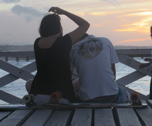 beach, pordosol, and love image