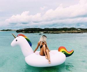 unicorn, summer, and girl image