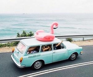 summer, car, and flamingo image