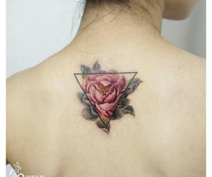 flowers, pink, and tattos image
