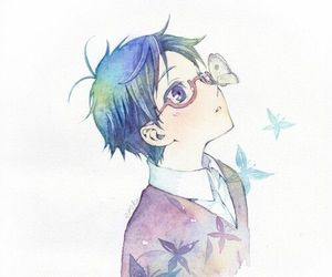 anime, boy, and butterfly image