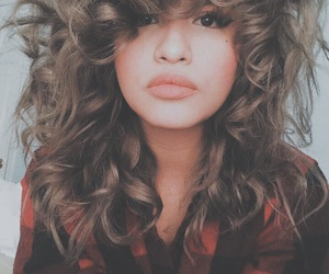 brunette, curly hair, and plaid image